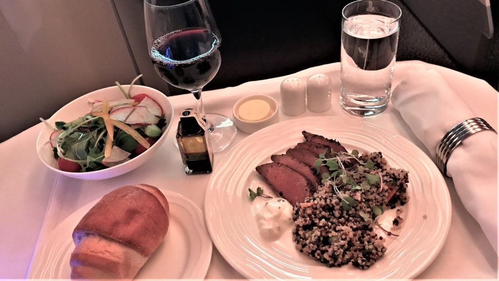 Business class starter on Emirates flight