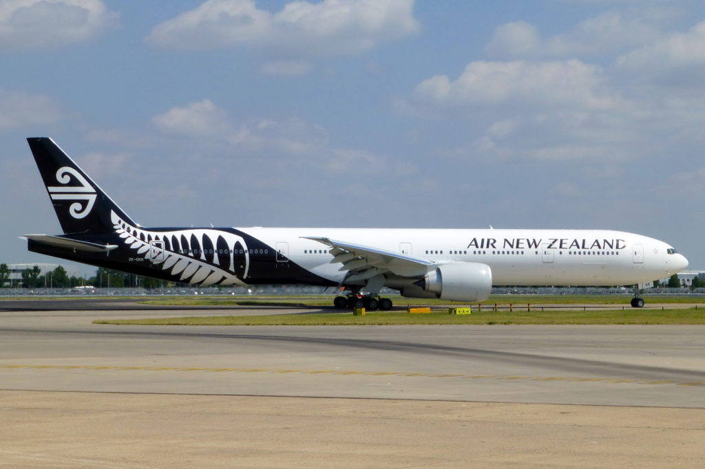 Air New Zealand Boeing 777-300ER. This is the aircraft used on the Auckland-Los Angeles-London route