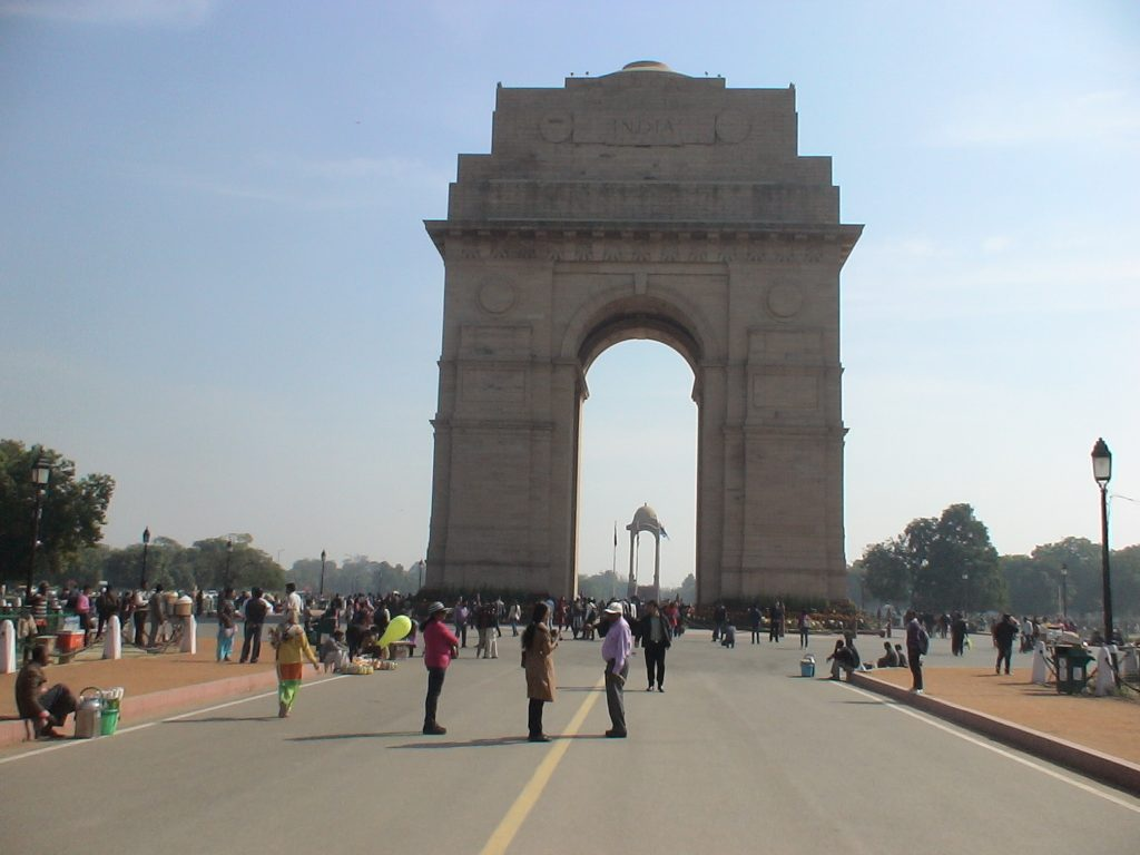 View of India Gate. This monument is visited daily by thousands of foreign and Indian tourists.