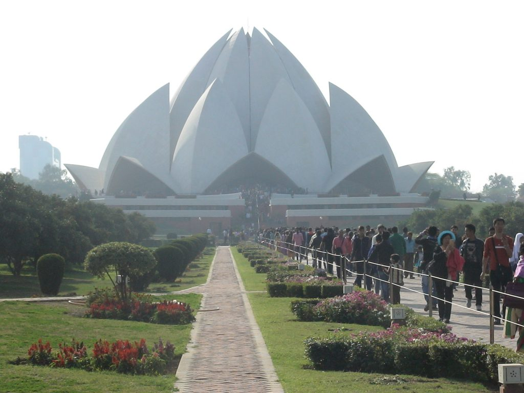 The Lotus Temple - was built by the followers Bhai faith. But open to every one and thousands of visitors pass through every day to admire the modern architectural beauty of this complex which look like a lotus flower.