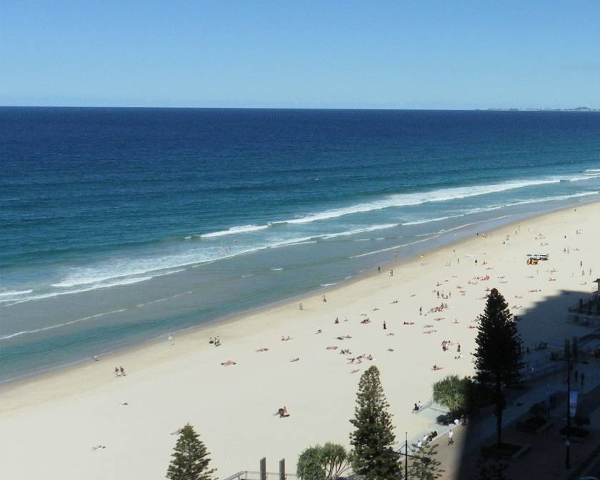 The beach at Surfer's Paradise from our bedrrom